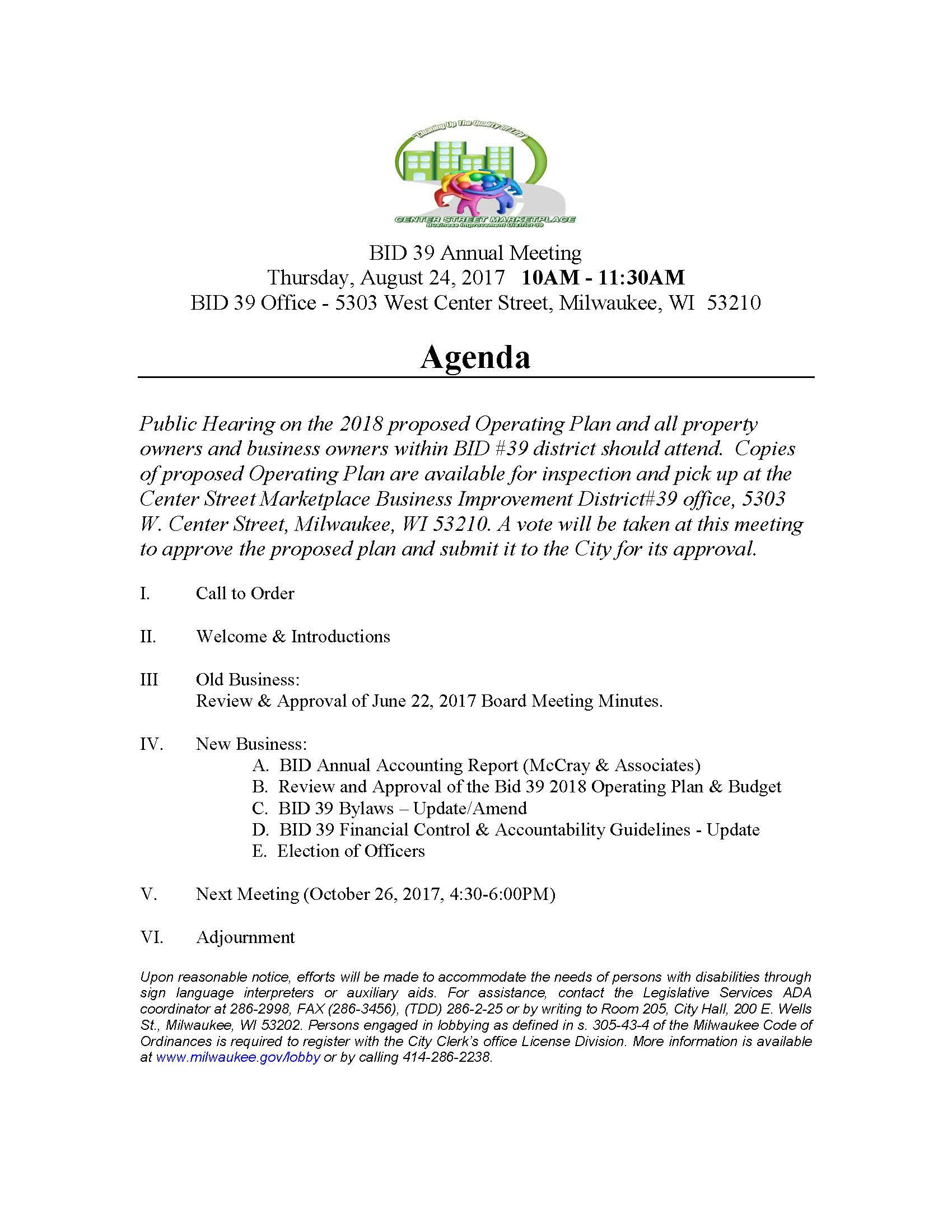 BID 39 Annual Meeting 8.24.17